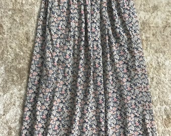 Vintage floral maxi skirt xs small pleated skirt 0 2 4 pink blue 80s 90s grunge