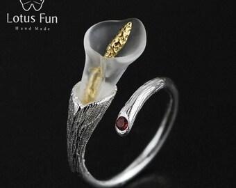 Handmade Ring, Silver Ring, Designer Ring, Flower Ring, Lily Ring, Sterling Ring, Fine Ring, Adjustable Ring