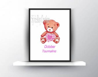 digital download, print, bear, baby, wall decor, October stone, birth, child, watercolor, download, image