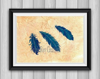 digital download, print, feathers, wall decoration, download, kids, watercolor, instant, blue, home, illustration