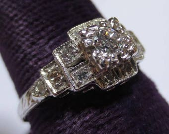 Art Deco Platinum & Diamond Ladies Engagement Ring