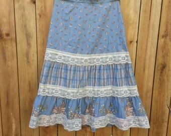 Blue Floral, Plaid & Lace Layered Peasant/Prairie Skirt