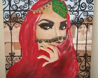 acrylic painting bedouine woman 40x50 (cm)