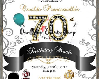 Diamond Number Casino Birthday Party Invitation - 30th, 40th, 50th, 60th, 70th, 80th, 90th!