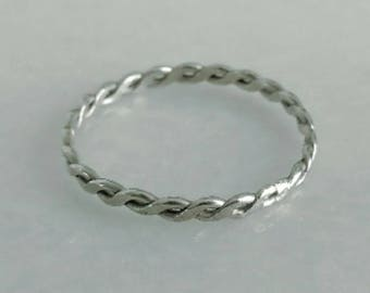 T-W-I-S-T-E-D skinny ring Sterling silver Stackable ring