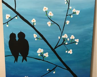 "Hand painted ""Love Birds"" 12"" x 9"""