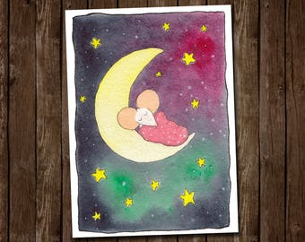 Whimsical Sleeping Mouse on the Moon with a Galaxy Background by Kris Miners