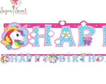 Unicorn Rainbow Happy Birthday Banner, Unicorn Party, Rainbow Party, Birthday Banner, Birthday Party, Rainbow Birthday, Unicorn Birthday