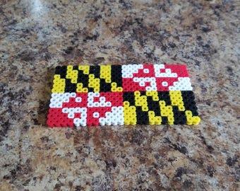 Maryland flag perler bead ornament