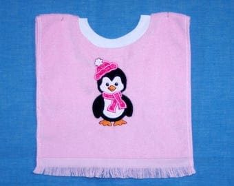 Penguin Girl Over-the-Head Terrycloth Bib