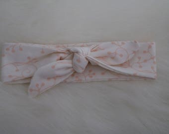 White and Peach Printed Turban Headband