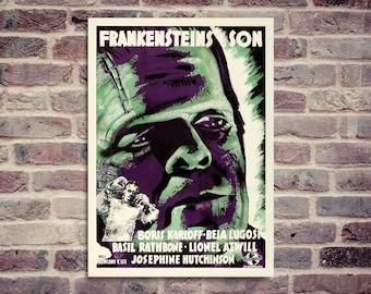 Frankenstein poster. Frankenstein's son poster. Vintage movie poster.  .(..