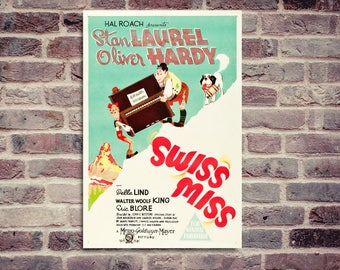 Stan Laurel Oliver Hardy. Movie poster. Swiss Miss poster. Vintage movie poster. Laurel and Hardy poster.