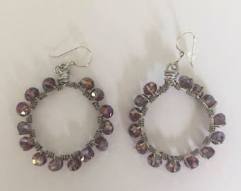 Purple Beaded Wire Wrapped Hoops