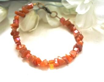 Orange aventurine and cubic bracelet.