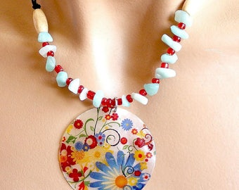 Blue and red chips necklace with amazonite