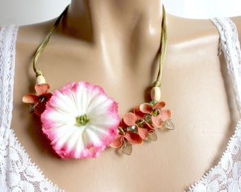 Pink Flower necklace orange brown florets and fabrics