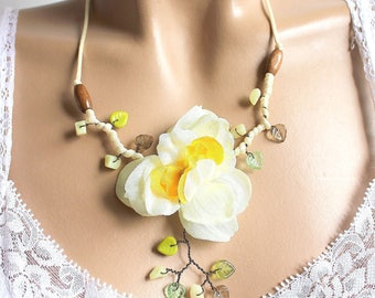 White and yellow Daffodil Flower necklace