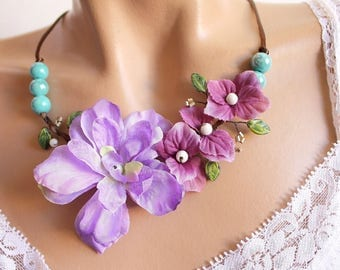 Purple and ceramic floral Brown branch Necklace blue.