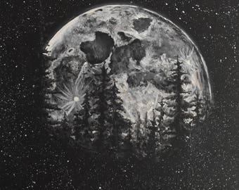 Moon Painting. Original acrylic painting print, Home Decor