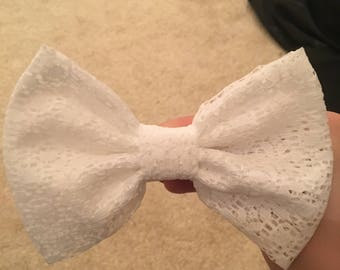White Crochet Lace Hair Bow