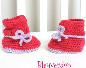 Baby Pink and purple with small bow booties. Hand crocheted