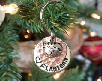 Custom Cat Tag - Pet ID Tag - Cat Name Tag -Personalized Dog Tag - Cat Name Tag - Pet Tag -Custom Pet Name Tag - Hand stamped Tag