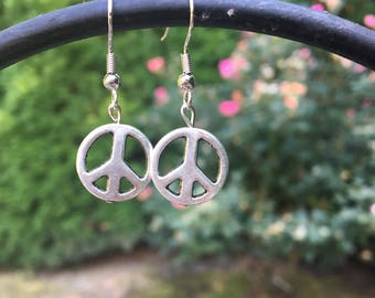 Silver Peace Symbol Drop Earrings