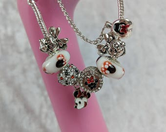 Dotty Miss Mouse Charm Bead Bracelet