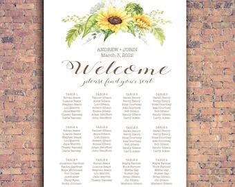 Wedding Seating Chart, Sunflowers, RUSH ORDER