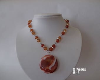 Vintage carnelian gemstone necklace with extra big pendant