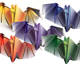Origami Batt - 5 Colors - Printable paper