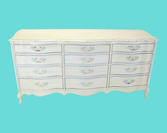 Mid-Century, Vintage French Provincial Dresser With 12 Drawers