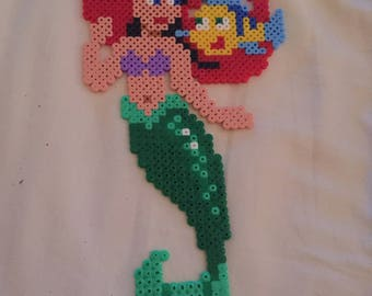 Ariel and Belle large Disney character Hama/melty Bead Figures. Can be framed.