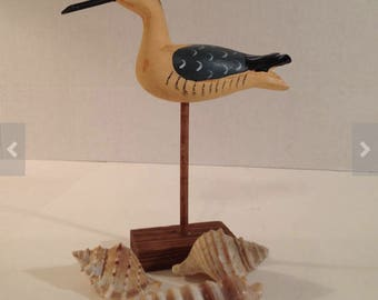 Carved Wooden Shore Bird on Stand