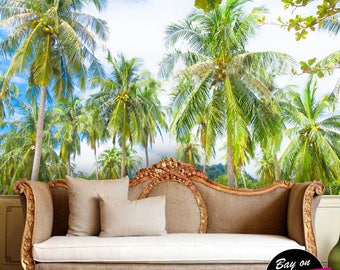 Exotic Tropical Paradise Under Palms Trees Wallpaper   Wall Art Decor  Removable Self Adhesive Peel And