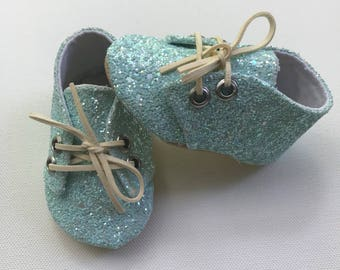 Light blue glitter prewalker shoes