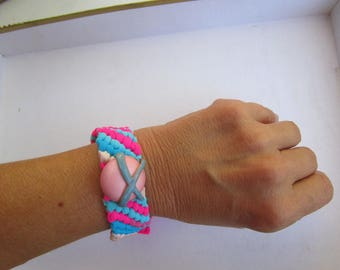 Pink and blue Friendship Bracelet and its Medallion pink