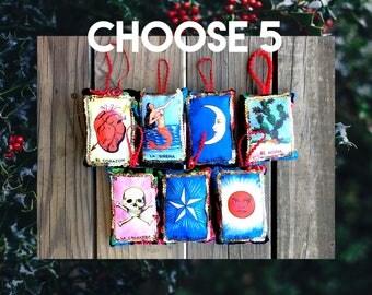 CHOOSE 5 Loteria Card Mexican Bingo Fabric Pillow Ornament Holiday Christmas