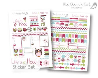 Life's a Hoot, Owl Planner Stickers, Sticker Kit, Weekly, Monthly Sticker Set