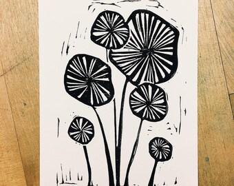 Original Flower Linocut Print