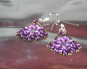 Violet and Bronze Earrings, Superduo bead weaving , Gifts for Her