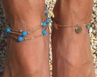 Turqouise Blue Gold Boho Anklets