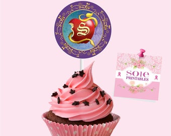 Descendants 2 Theme:  – (12) Cupcake Toppers- Customized with Initial
