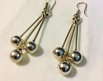 Vintage Sterling Silver Dangling Earrings