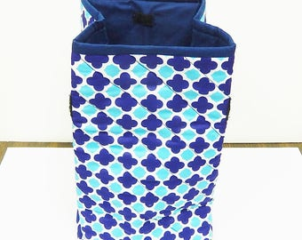 Insulated Quilted Lunch Bag, Lunch Sack, Velcro Closing, Blue White Turquoise