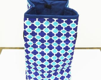 Insulated Quilted Lunch Bag, Lunch Sack, Velcro Closing, Blue White Tuquoise
