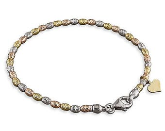 Three Tone Diamond-Cut Beads With Heart Charm Sterling Silver Bracelet