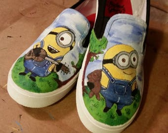 Hand painted Minion shoes for kids