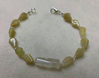 Grossular Garnet Citrine and Glass Beads Beaded bracelet